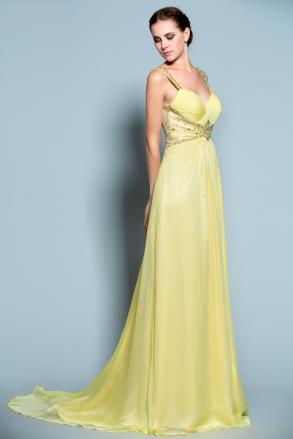 Ellis - New Sweetheart Yellow Chiffon Bridesmaid Mother Of Bride Formal  Evening Dress With Embellished Back