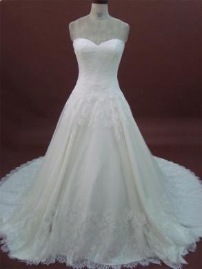 White One / W1 - New Custom Made Lace A Line Strapless Wedding Dress Chapel Train Bridal Gown Abw1223