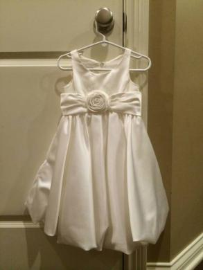 David's Bridal - Ivory Satin Flower Girl Dress With Rosette