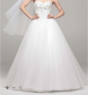 David's Bridal - Strapless Tulle Ball Gown With Beaded Bodice