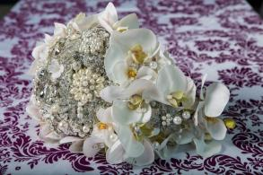 10in Silk Orchid Cascading Brooch Bouquet