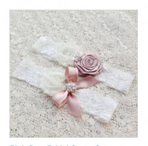 Pink And Ivory Flower Keepsake And Throw Garter Set
