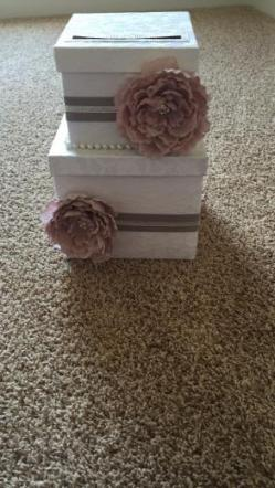 Blush, Grey And White Lace Cardbox