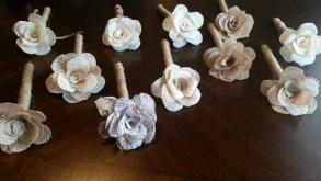 Shabby Burlap Country Rustic Vintage Wedding Pen. Handcrafted Burlap Flower On Top. Guest Book Pen.