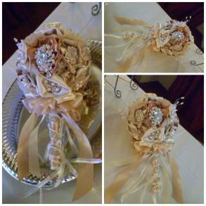 Custom Made Bridal Bouquet W/brooches & Handmade Flowers