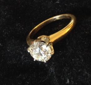 Stunning Old European Cut Diamond Solitaire In 18k Gold
