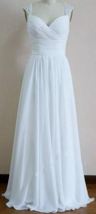 Brand New White Sequin Straps Chiffon Wedding Dress Size 6