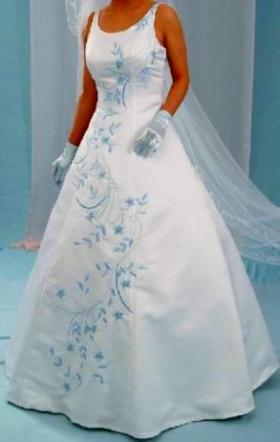 Unknown - Brand New White Wedding Dress With Blue Embroidery Size 12