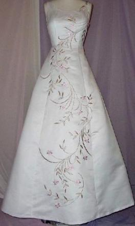 Brand New White Wedding Dress With Rum & Pink Embroidery