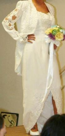 - Brand New White Sheath Beaded Wedding Dress With Long Sleeved Jacket