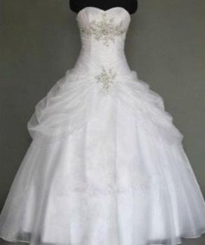 Brand New White Ball Gown Sequin Accent Princess Wedding Dress Size 10
