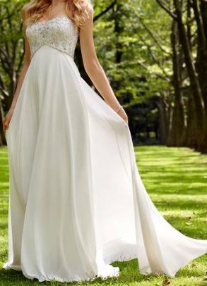 Brand New Off White Chiffon Wedding Dress With Sequin Accents Sizes 10 And 14