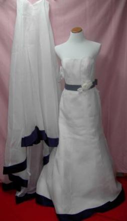 Brand New Alfred Angelo White With Purple Trim Flower Accents & Detachable Train
