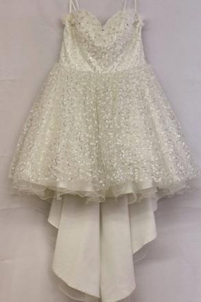 - Brand New Terani Couture Short High Low Ivory Wedding Dress Flower Accents Size 10