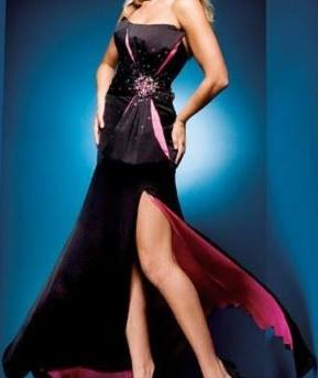 Brand New Tony Bowls Black Pink Rhinestone Accent Evening Gown Prom Bridesmaid Dress Size 0
