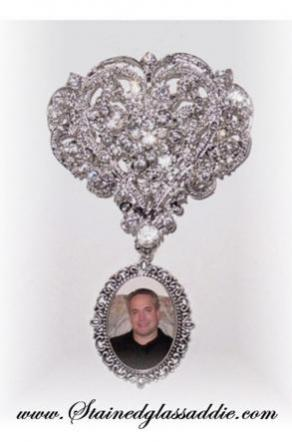 Wedding Bouquet Memorial Photo Charm Brooch Cinderella Ever After Crystal Gems - Free Shipping