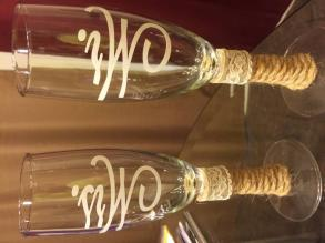 Burlap And Ivory Lace Toasting Glasses