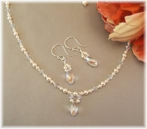 Dainty Bridal Necklace And Earring Set