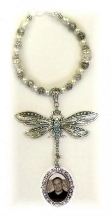 Wedding Bouquet Memorial Photo Charm Antiqued Silver Dragonfly Baby Blue Crystals Pearls Silver Tibetan Beads - Free Shipping