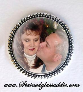 Wedding Vest Lapel Pin Silver Memory Memorial Photo Pin - Free Shipping