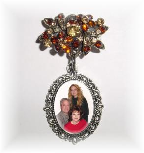 Memorial Photo Brooch Antiqued Silver Amber Crystal Gems - Free Shipping