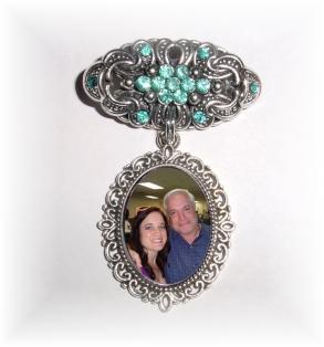 Memorial Photo Brooch Antiqued Silver Aqua Blue Green Crystal Gems - Free Shipping