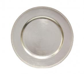 Silver Beaded Round Charger Plates