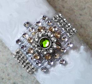 50 NEW NEVER USED SILVER BLING NAPKIN RINGS W LAYERED LIME JEWEL CENTER - ONLY 59 CENTS EACH - FREE SHIPPING