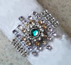 50 NEW NEVER USED SILVER BLING NAPKIN RINGS W LAYERED TURQUOISE JEWEL CENTER - ONLY 59 CENTS EACH - FREE SHIPPING