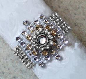 100 New Never Used Silver Bling Napkin Rings W Layered Clear Jewel Center - Only 59 Cents Each - Free Shipping