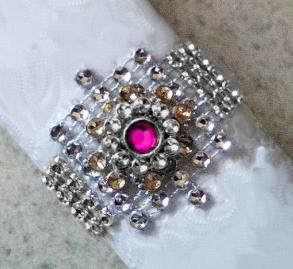 100 New Never Used Silver Bling Napkin Rings W Layered Fuchsia Jewel Center - Only 59 Cents Each - Free Shipping