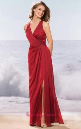 Ravishing Criss Cross Red V Neck Chiffon Color Floor Length Bridesmaid Dress