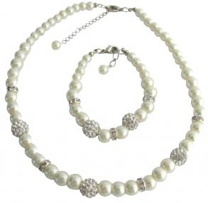 Pearl Necklace Bracelet Pave Ball Rhinestones Jewelry Ivory Pearl Set