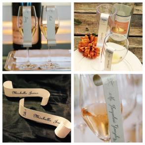 Wine Glass / Champagne Flute Seating/ Place Card Scroll / Wedding/ Dinner Party / Special Event