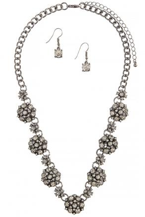 Crystal Floral Necklace Set