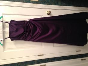 Satin Gown With Side Drape And Brooch