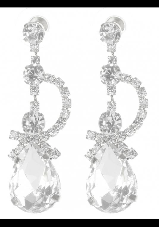 Silver Clear  Rhinestone Tear Drop Earrings