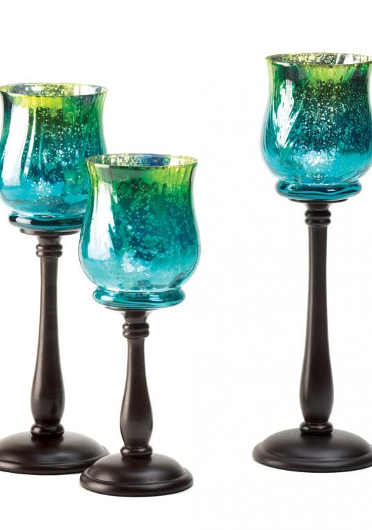 New Blue & Green Candle Holder Trio