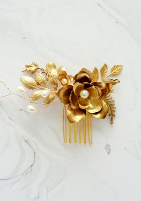 Gold Floral & Pearl Bridal Hair Comb
