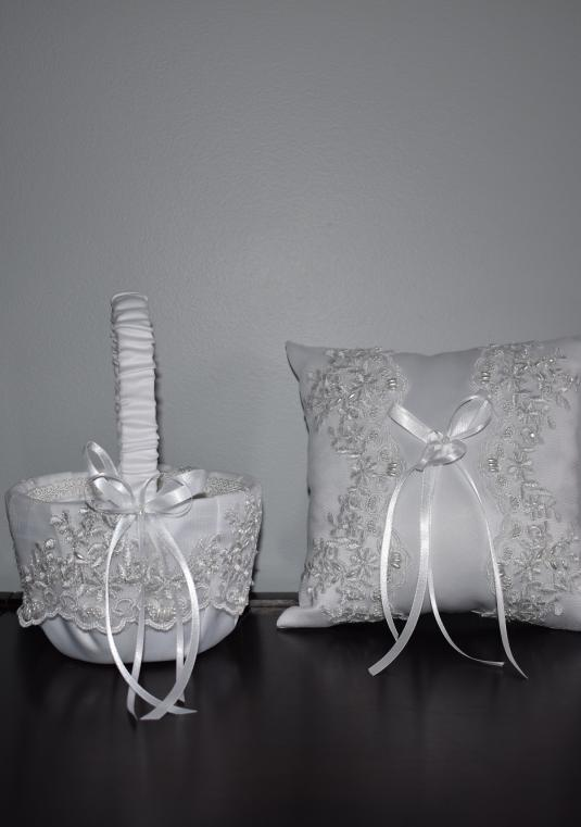Flower Girl Basket & Ring Bearer Pillow Set