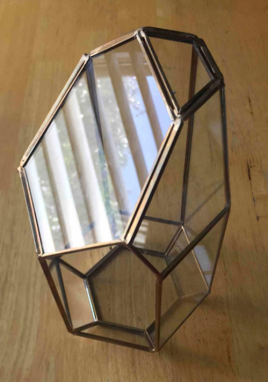 Tall Geometric Gold Metal & Glass Terrarium (set of 3)