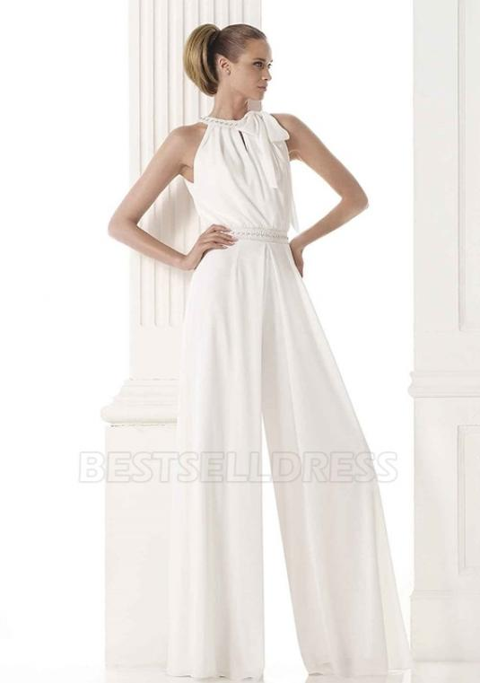 Bestselldress - Pant Suit- High Neck Floor-length Wedding Pantsuit With Beading