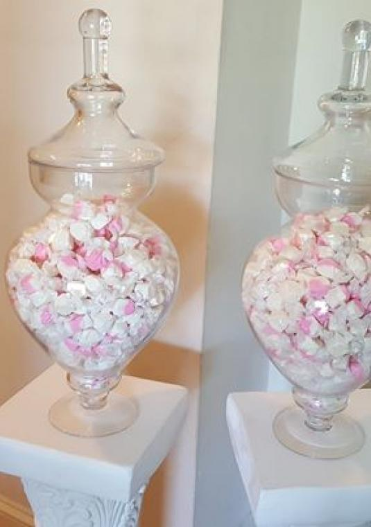 Apothecary Jars With Salt Water Taffy Candy