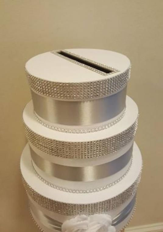 Bling Wedding Cake Card & Money Box