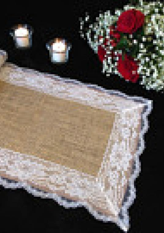 14-ft Burlap & Lace Table Runner, 12