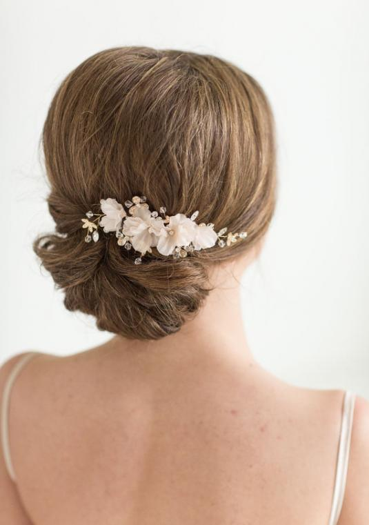 Brand New, Never Worn Bridal Hair Comb - Gold And While Floral Crystal Hair Comb (retail $70, Selling At $35)