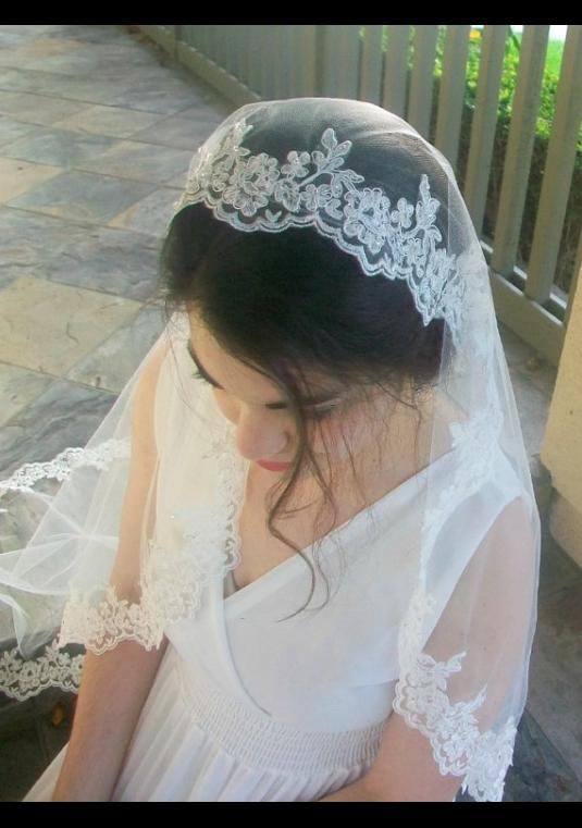 Brand New, Never Worn Alencon Lace Mantilla Veil, Fingertip Length In White (retail $202, Selling At $100)