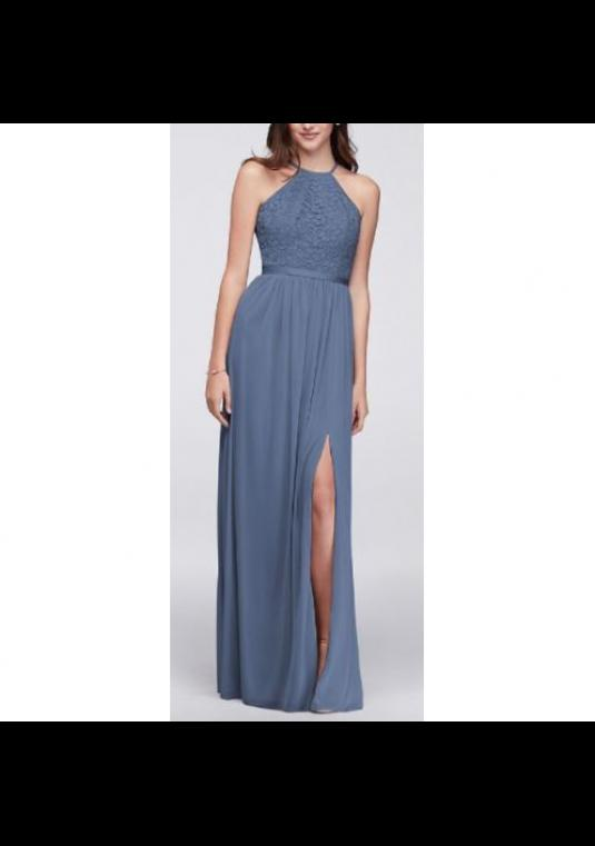 David S Bridal Open Back Lace And Mesh Bridesmaid Dress In Steel Blue F19608