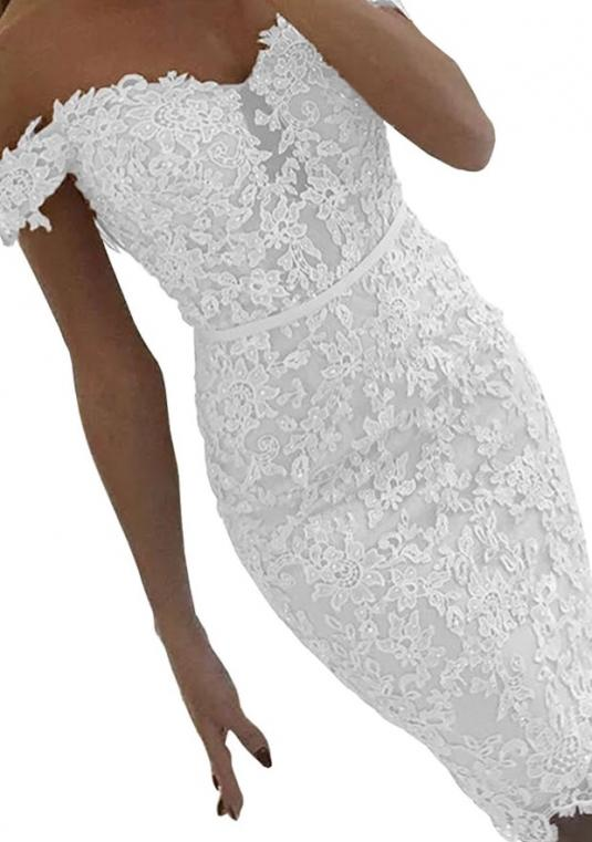Dressilyme - Lace Sequined Reception Dress