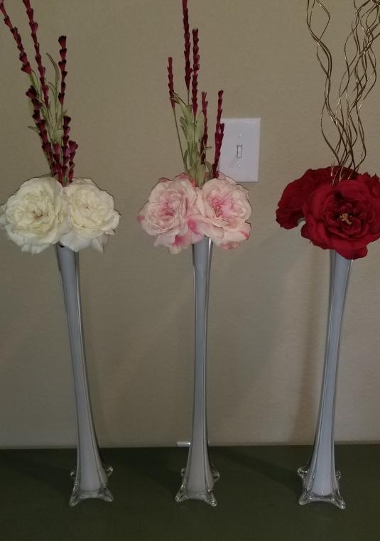 Ivory blush and red trumpet vase silk flower arrangement table ivory blush and red trumpet vase silk flower arrangement mightylinksfo